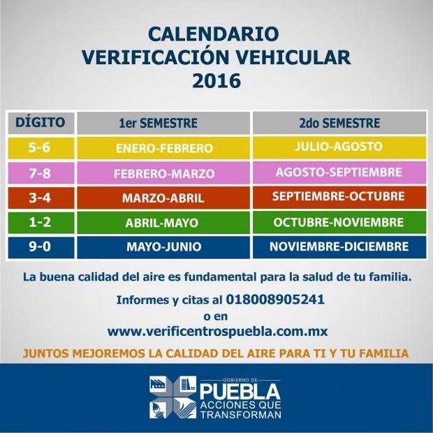 Calendario de Verificación 2016 para el estado de Puebla - Virtual ...